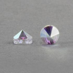 5062 Swarovski Round Spike Two Hole Bead 7.5mm Crystal AB Pk3