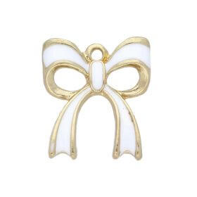SweetCharm™ Bow / charms pendant / with cubic zirconia / 20x17x3mm / gold plated / white / 2pcs