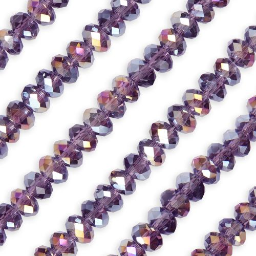 X- Essential Crystal Faceted 8mm Rondelle Purple Violet AB 72pack
