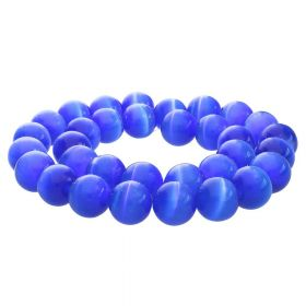 Cat's eye / round / 8mm / deep blue / 50pcs