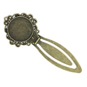 Bookmark / with round cabochon base 20mm / 81mm / antique bronze / 1pcs
