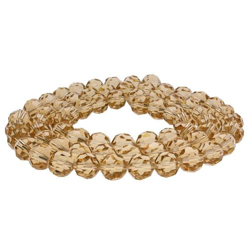 CrystaLove™ crystals / glass  / faceted round / 6mm / light brown / transparent/ 95pcs