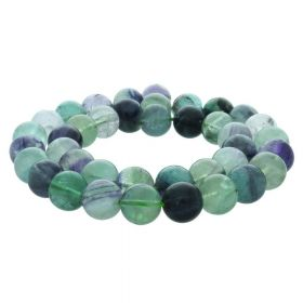 Rainbow fluorite / round / 12mm / multicoloured / 34pcs