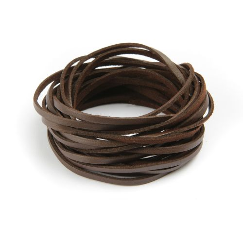 Double Sided Leather/Suede 3mm Flat Cord Dark Brown 5m