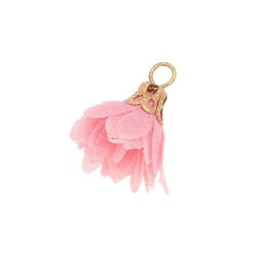 Tulle flower / with openwork tip / 18mm / Gold Plated / light pink / 4 pcs