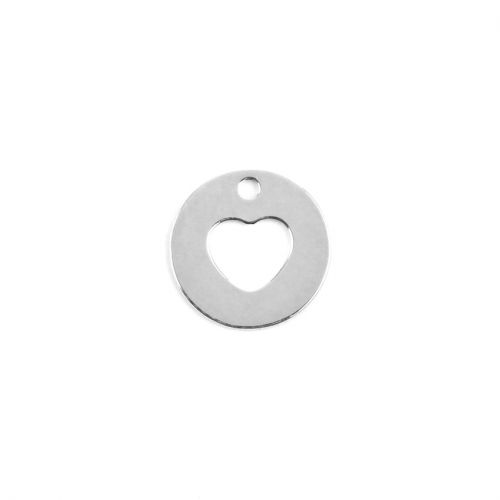 Sterling Silver 925 Tiny Charm Cut Out Heart 8mm Pk1