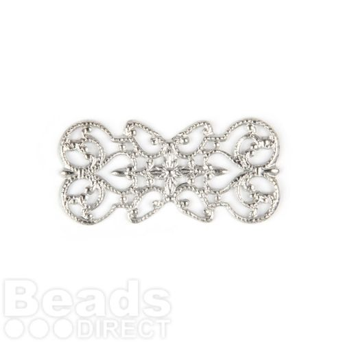 Silver Plated Fancy Filigree Rectangle Connector 20x41mm Pk5