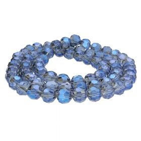CrystaLove™ crystals / glass / faceted round / 8mm / blue-grey / transparent  / 65pcs