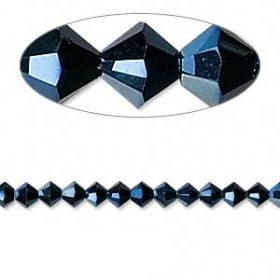 5328 Swarovski Crystal Bicones Xillion 4mm Metallic Blue Pk24