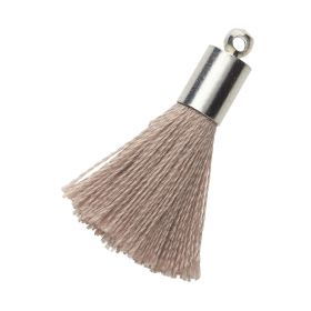 Tassel / viscose thread / silver end cap / 25mm / beige / 1pcs