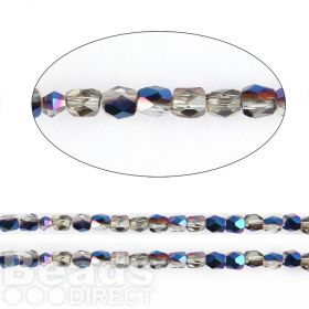 "Cobalt 1/2 Coated Essential Crystal 18 Facets Round Beads 3mm 13"" Strand"