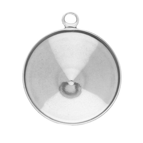 Pendant / rivoli base 6mm / surgical steel / 8x7mm / silver / 2pcs