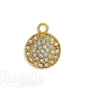 Gold Plated Zamak Flat Round Crystal Charm 15mm Pk1