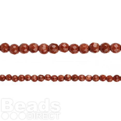 """Brown Goldstone Faceted Round Beads 6mm 14"""" Strand"""