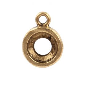 Nunn Design Antique Gold Open back bezel Circle Charm for 8mm/SS39 Swarovski Chaton Pk1