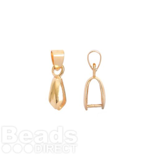 Gold Plated Pinch Bail with Loop For Large Pendant 5x11mm Pk1