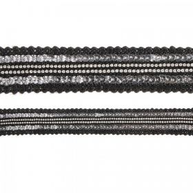 Black and Silver Woven Fabric Cord 20mm 180cm