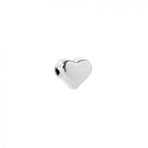 Sterling Silver 925 Heart Bead Side Drilled 10x12mm Pk1
