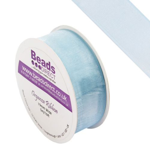 X-Blue Organza Ribbon 19mm Sold on a 5 Metre Reel