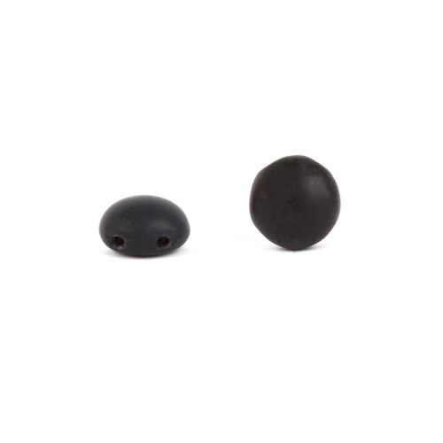Preciosa Pressed Glass Candy Twin Hole Beads Frosted Black 8mm Pk30