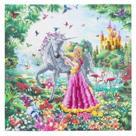 """Beads Direct """"The Princess and The Unicorn"""" Framed Crystal Art Kit 30x30cm"""