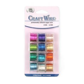 Assorted Coloured Copper Wires 0.41mm 26awg 12 Reels 55 Metre