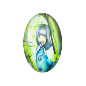 Glass cabochon with graphics oval 18x25mm PT1515 / green-blue / 2pcs