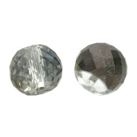 CrystaLove™ crystals / glass / faceted round / 8x10mm / black / transparent / lustered / 6pcs
