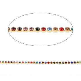 Multi Colour Crystal Gold Plated Cupchain 2mm 1metre