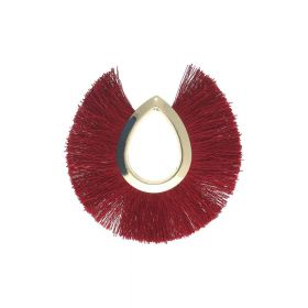 Tassel / viscose thread / large drop / 65mm / burgundy / 1pcs