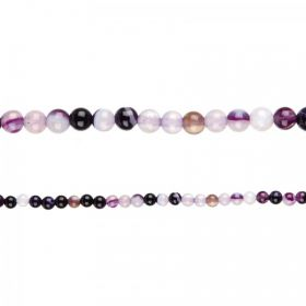 "Purple Striped Agate Round Semi Precious Beads 4mm 15"" Strand"