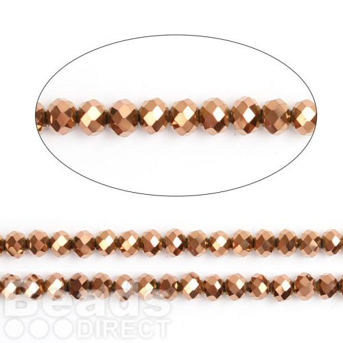 """Bronze Full Coat Essential Crystal Glass Faceted Rondelle Beads 6mm 16""""Strand"""