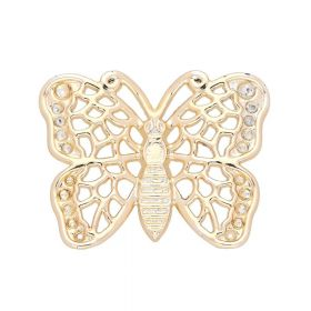 Butterfly / charm pendant / 27x35x3.5mm / gold plated / 1pcs