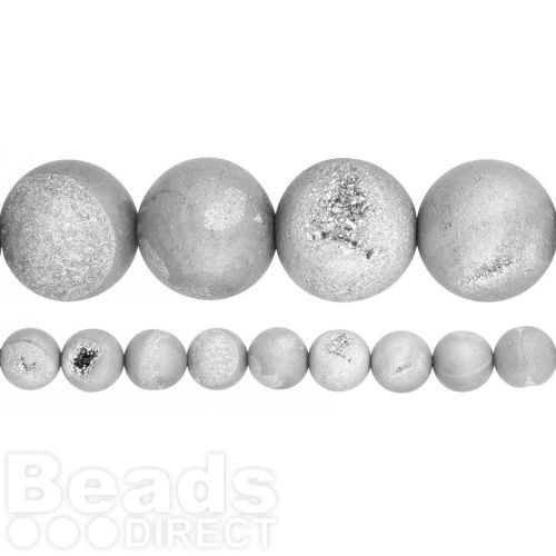 """Silver Druzy Agate Round Beads 12mm 15"""" Strand"""