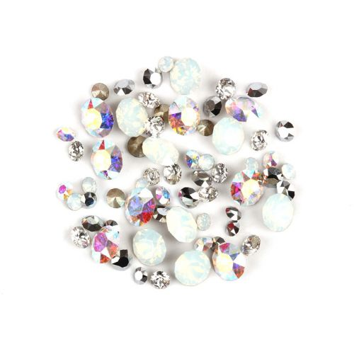 """X"" 1088 Swarovski Crystal Chaton Silver Mix Assorted Sizes 2g"