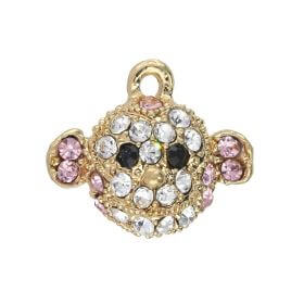 Glamm ™ Monkey / charm pendant / with zircons / 16x18mm / gold plated / multicolour / 1pcs