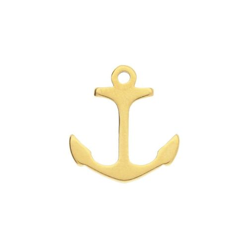Anchor / charm / surgical steel / 11x10mm / gold / 2pcs
