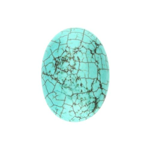 Howlite / cabochon / oval / 18x25x6mm / turquoise / 1pcs