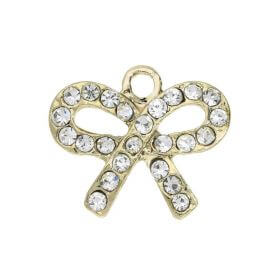 Glamm ™ Bow / charm pendant / with zircons / 15.5x18mm / gold plated / 1pcs