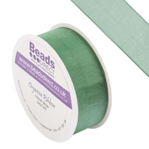 X-Green Organza Ribbon 19mm Sold on a 5 Metre Reel