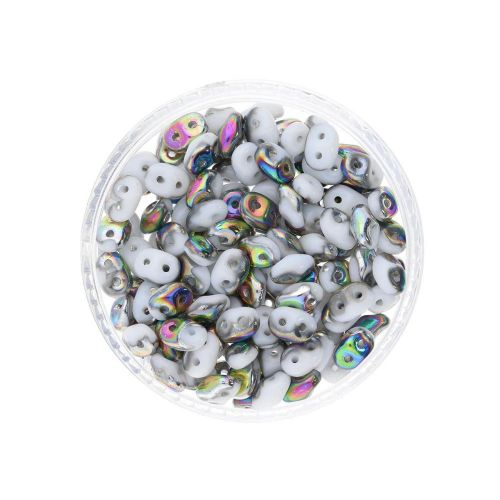 SuperDuo™ / glass beads / 2.5x5mm / Vitral / White / 10g / ~140pcs