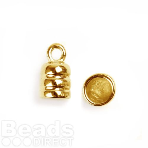 Gold Plated Cord Ends For 6mm Cords 9x15mm Pk2