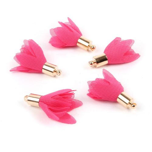 Fuchsia Nylon Flower Tassel Charm w/Gold Plated Cup 25mm Pk5