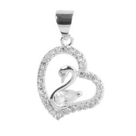 Silver Plated Swan in Heart Charm w/Bail & Zircon Crystals 15mm Pk1