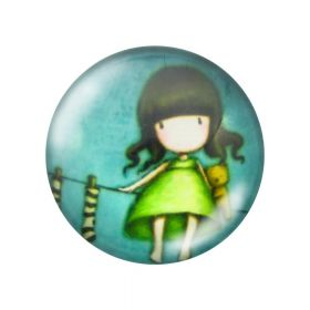 Glass cabochon with graphics 25mm PT1507 / green / 2pcs