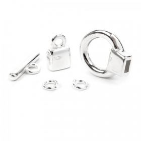 Silver Plated Zamak Toggle Clasp with Cord Ends 1x Set