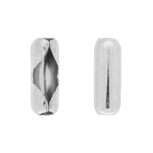Ball chain clasp / surgical steel / 7x2.5x2.5mm / silver hole 2mm / 30pcs