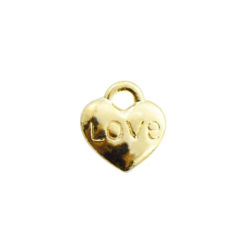 Heart - love / charm pendant / 8x7mm / gold plated / hole 2mm / 4pcs