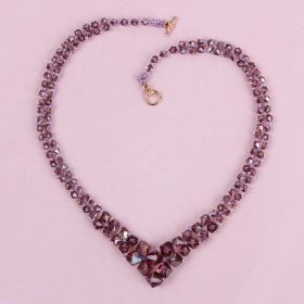 Amethyst Graduated Bicone Necklace made with Swarovski - Makes x1