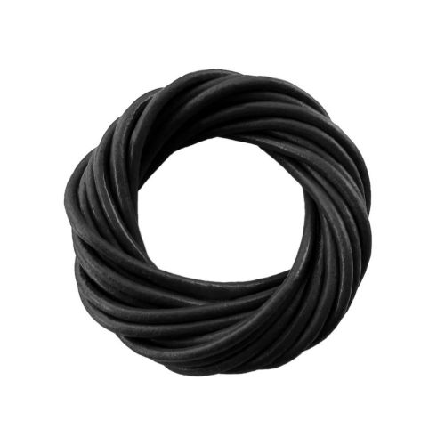 Natural leather / round / 6mm / black / 1m